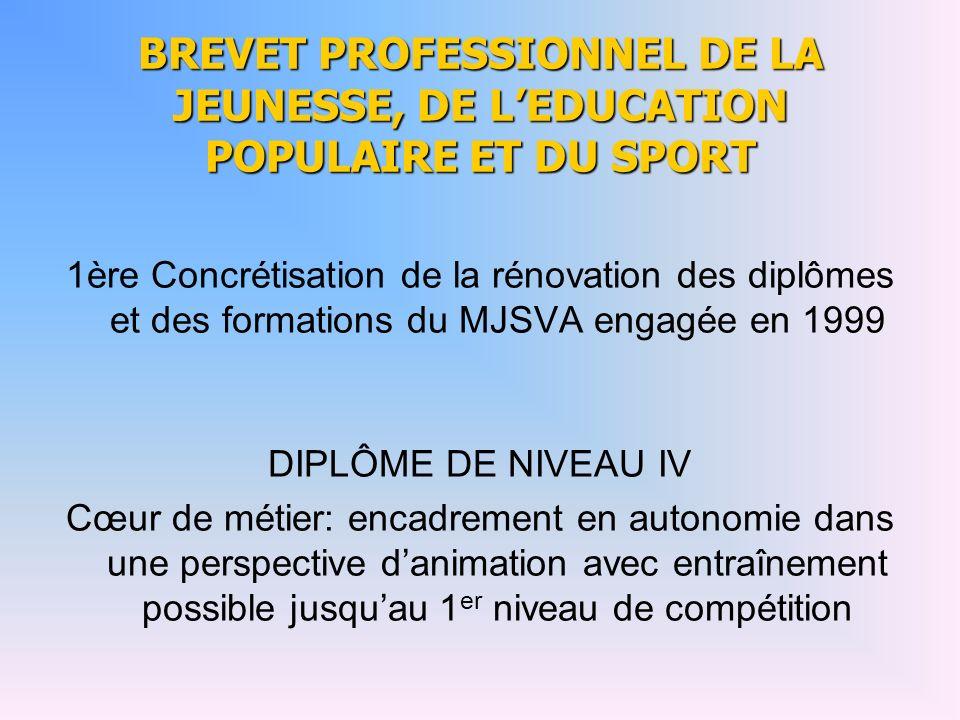 BREVET PROFESSIONNEL DE LA JEUNESSE, DE LEDUCATION POPULAIRE ET DU SPORT 1ère Concrétisation de la rénovation des diplômes et des formations du MJSVA