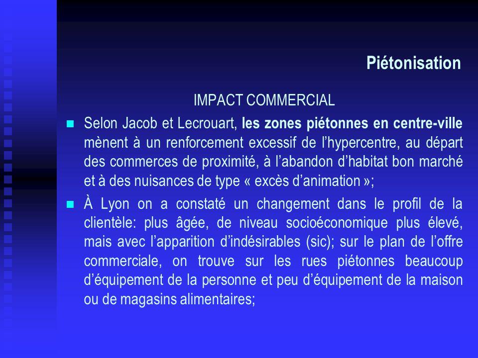 Piétonisation IMPACT COMMERCIAL Selon Jacob et Lecrouart, les zones piétonnes en centre-ville mènent à un renforcement excessif de lhypercentre, au dé