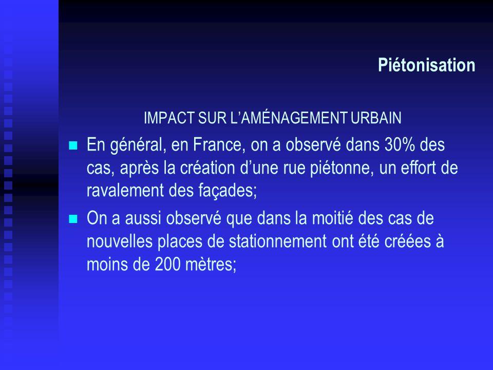 Piétonisation IMPACT SUR LAMÉNAGEMENT URBAIN En général, en France, on a observé dans 30% des cas, après la création dune rue piétonne, un effort de r