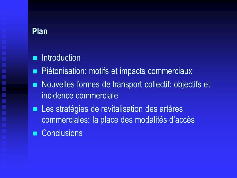 Plan Introduction Piétonisation: motifs et impacts commerciaux Nouvelles formes de transport collectif: objectifs et incidence commerciale Les stratég