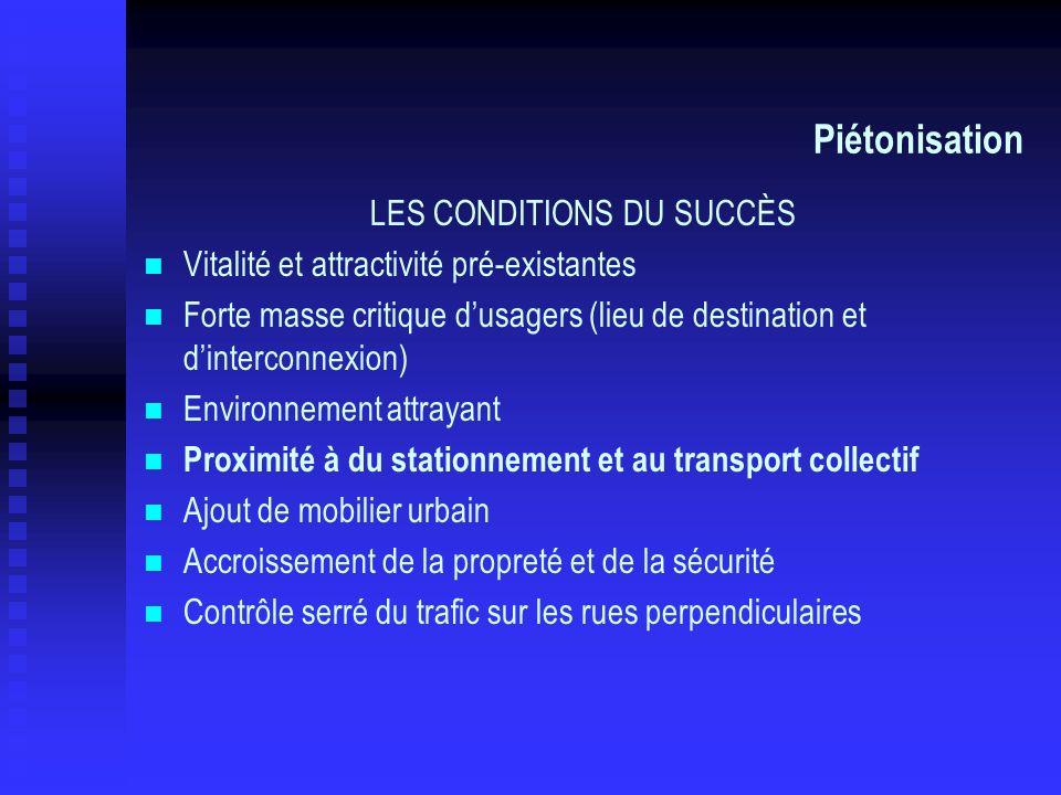 Piétonisation LES CONDITIONS DU SUCCÈS Vitalité et attractivité pré-existantes Forte masse critique dusagers (lieu de destination et dinterconnexion)