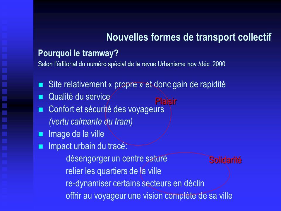Pourquoi le tramway? Selon léditorial du numéro spécial de la revue Urbanisme nov./déc. 2000 Site relativement « propre » et donc gain de rapidité Qua