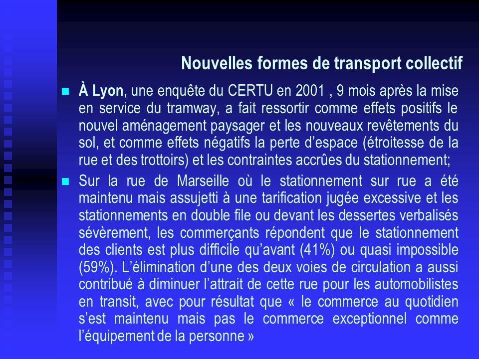 Nouvelles formes de transport collectif À Lyon, une enquête du CERTU en 2001, 9 mois après la mise en service du tramway, a fait ressortir comme effet