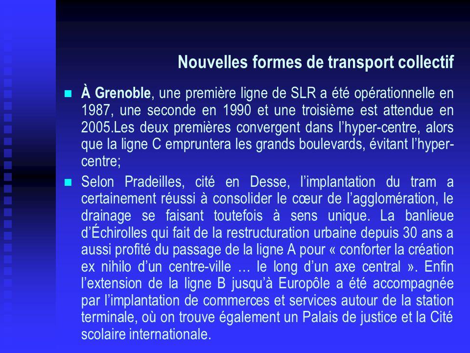 Nouvelles formes de transport collectif À Grenoble, une première ligne de SLR a été opérationnelle en 1987, une seconde en 1990 et une troisième est a
