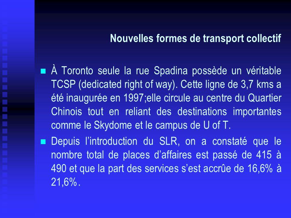 Nouvelles formes de transport collectif À Toronto seule la rue Spadina possède un véritable TCSP (dedicated right of way). Cette ligne de 3,7 kms a ét