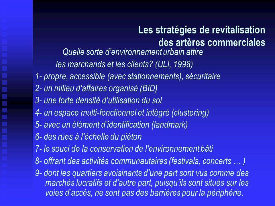Les stratégies de revitalisation des artères commerciales Quelle sorte denvironnement urbain attire les marchands et les clients? (ULI, 1998) 1- propr