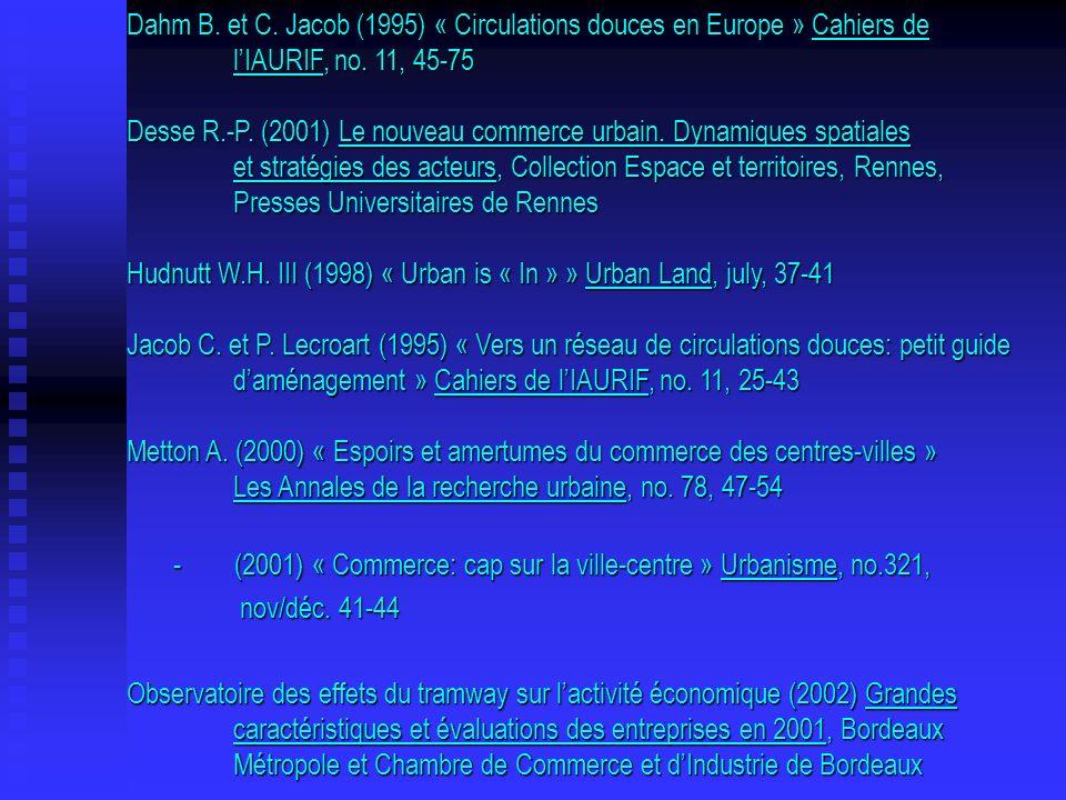 Dahm B. et C. Jacob (1995) « Circulations douces en Europe » Cahiers de lIAURIF, no. 11, 45-75 Desse R.-P. (2001) Le nouveau commerce urbain. Dynamiqu