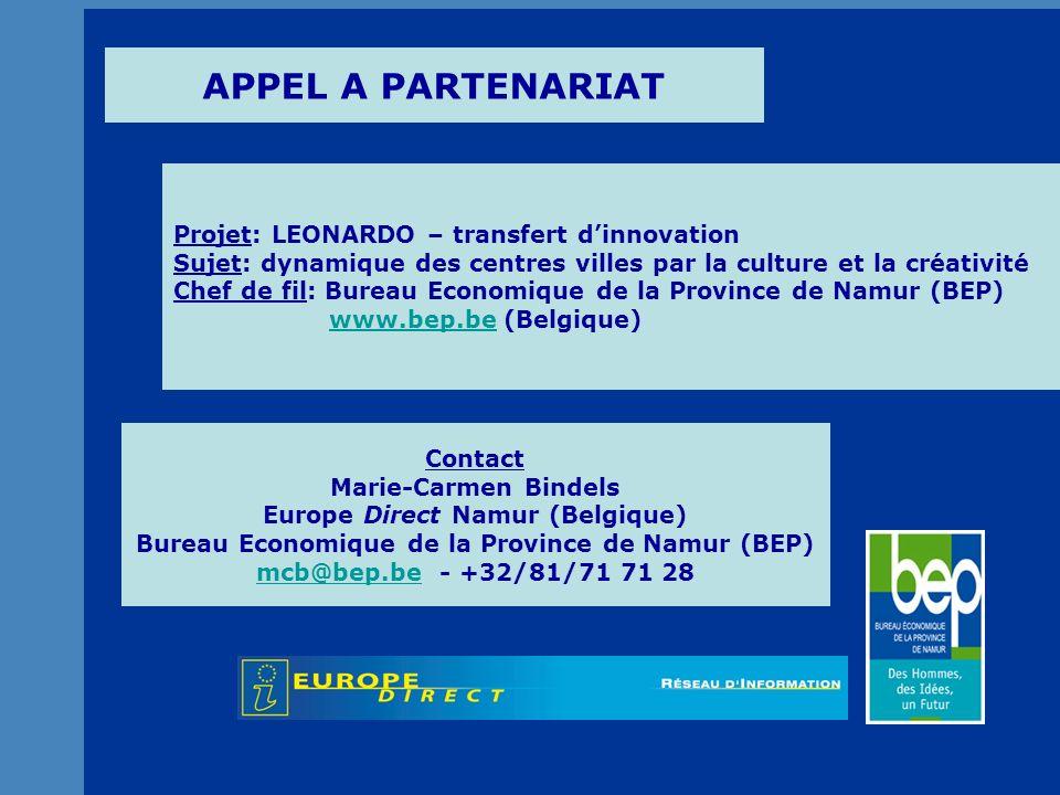 Bureau Economique de la Province de Namur (BEP) Projet LEONARDO 2 Présentation.