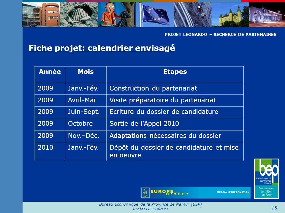 Bureau Economique de la Province de Namur (BEP) Projet LEONARDO 15 Fiche projet: calendrier envisagé AnnéeMoisEtapes 2009Janv.-Fév.Construction du par