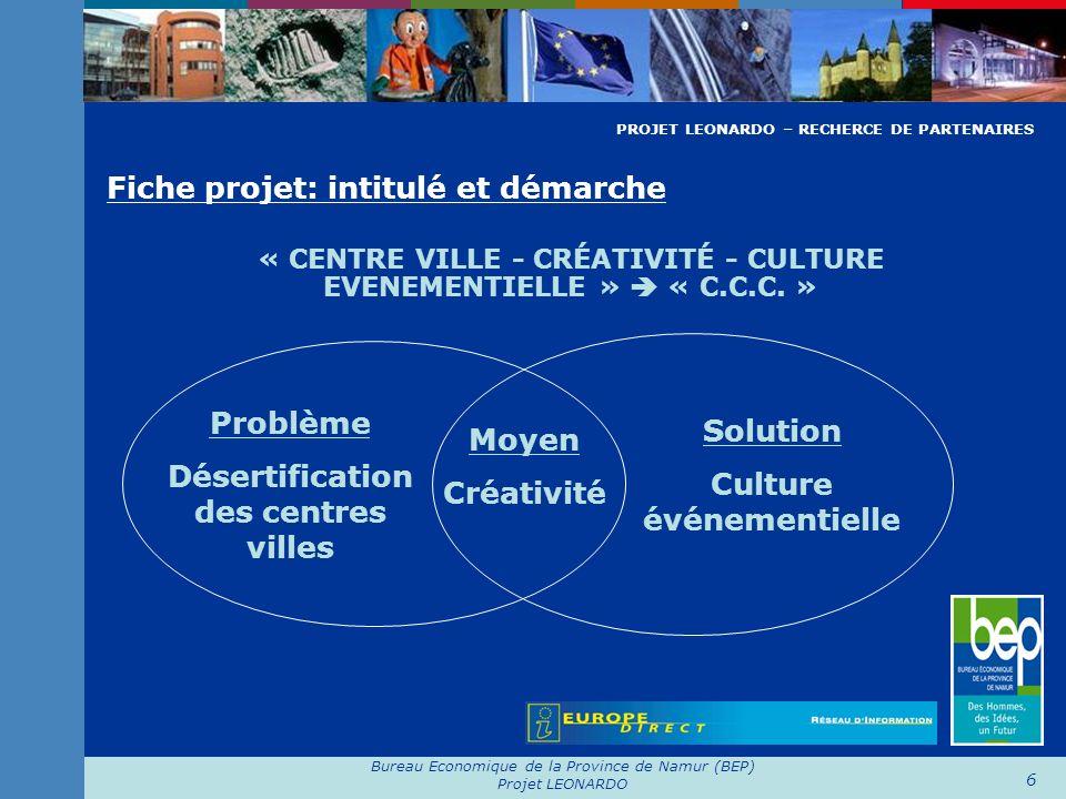 Bureau Economique de la Province de Namur (BEP) Projet LEONARDO 6 Fiche projet: intitulé et démarche « CENTRE VILLE - CRÉATIVITÉ - CULTURE EVENEMENTIE