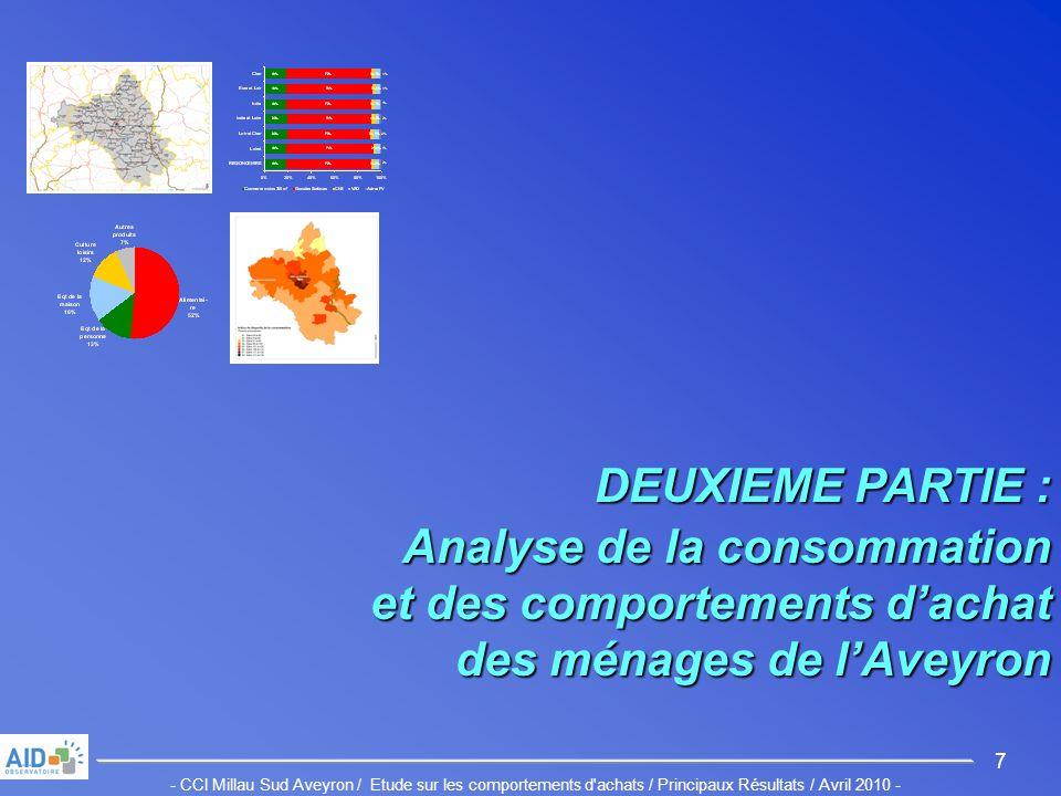 - CCI Millau Sud Aveyron / Etude sur les comportements d achats / Principaux Résultats / Avril 2010 - 7 DEUXIEME PARTIE : Analyse de la consommation et des comportements dachat des ménages de lAveyron