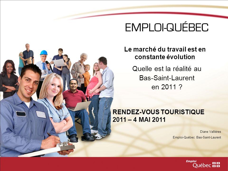 Le marché du travail est en constante évolution Quelle est la réalité au Bas-Saint-Laurent en 2011 ? Diane Vallières Emploi-Québec Bas-Saint-Laurent R