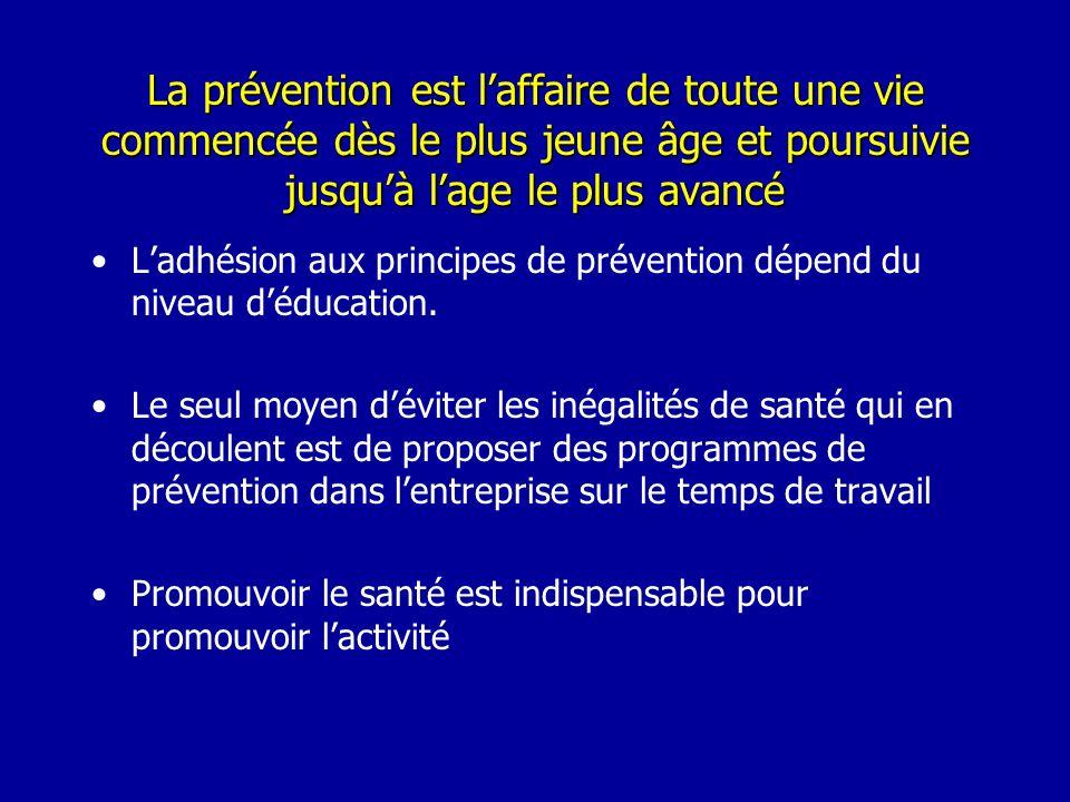La prévention est laffaire de toute une vie commencée dès le plus jeune âge et poursuivie jusquà lage le plus avancé Ladhésion aux principes de préven