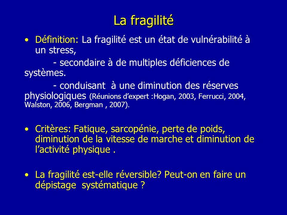La fragilité Définition: La fragilité est un état de vulnérabilité à un stress, - secondaire à de multiples déficiences de systèmes. - conduisant à un