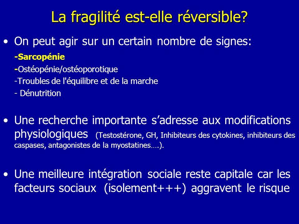 La fragilité est-elle réversible? On peut agir sur un certain nombre de signes: -Sarcopénie -Ostéopénie/ostéoporotique -Troubles de l'équilibre et de