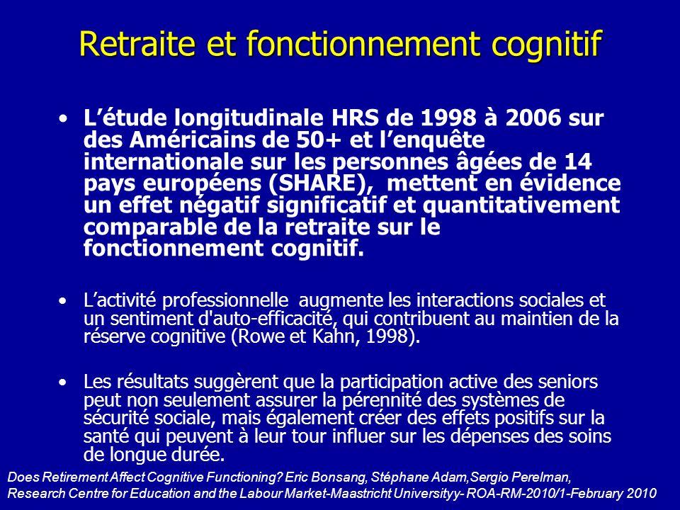 Retraite et fonctionnement cognitif Létude longitudinale HRS de 1998 à 2006 sur des Américains de 50+ et lenquête internationale sur les personnes âgé