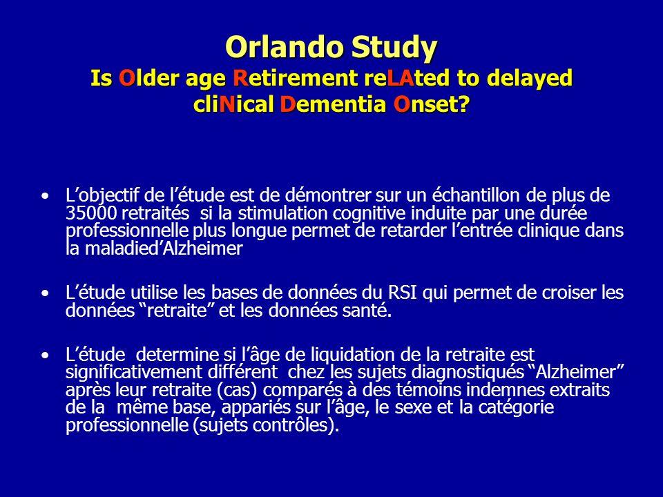 Orlando Study Is Older age Retirement reLAted to delayed cliNical Dementia Onset? Lobjectif de létude est de démontrer sur un échantillon de plus de 3