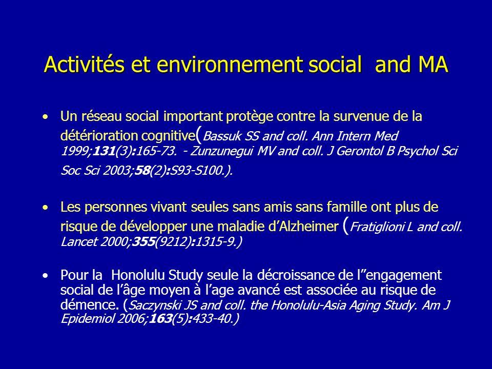Activités et environnement social and MA Un réseau social important protège contre la survenue de la détérioration cognitive ( Bassuk SS and coll. Ann