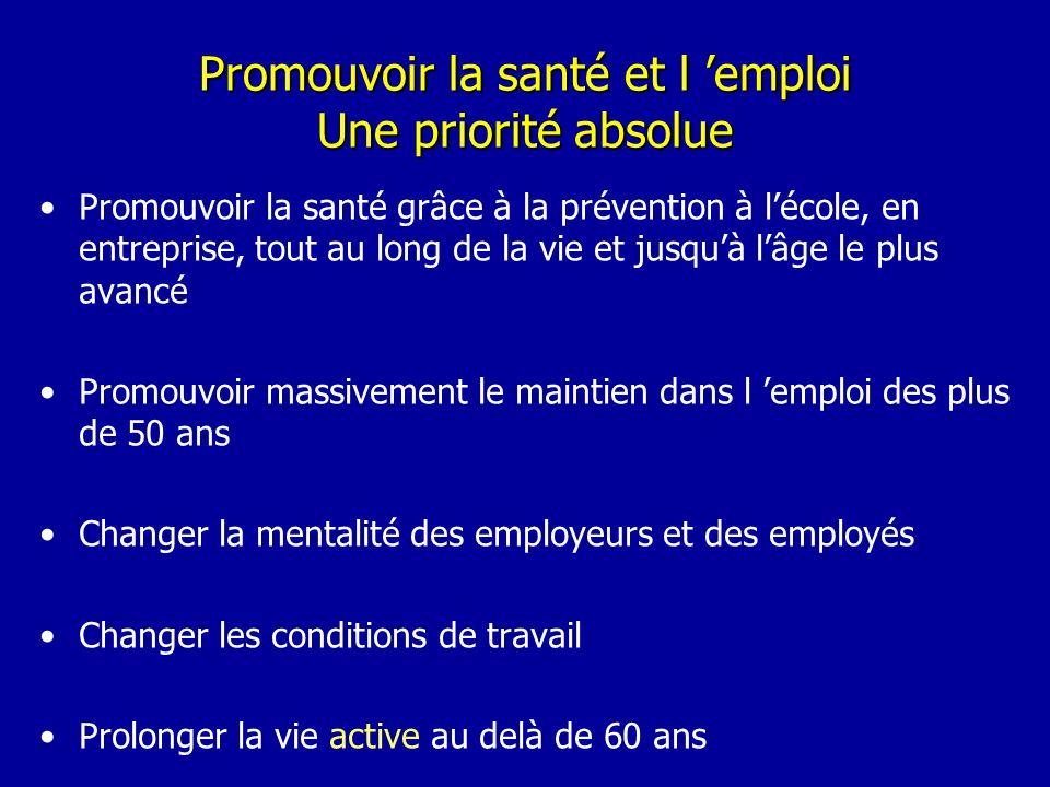 Promouvoir la santé et l emploi Une priorité absolue Promouvoir la santé grâce à la prévention à lécole, en entreprise, tout au long de la vie et jusq