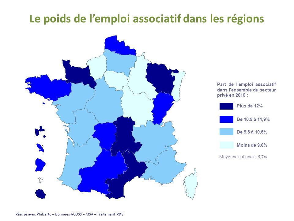 Le poids de lemploi associatif dans les régions Part de lemploi associatif dans lensemble du secteur privé en 2010 : Plus de 12% De 10,9 à 11,9% De 9,8 à 10,6% Moins de 9,6% Réalisé avec Philcarto – Données ACOSS – MSA – Traitement R&S Moyenne nationale : 9,7%