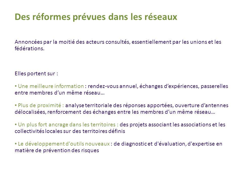 Des réformes prévues dans les réseaux Annoncées par la moitié des acteurs consultés, essentiellement par les unions et les fédérations.