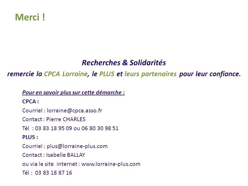 Recherches & Solidarités remercie la CPCA Lorraine, le PLUS et leurs partenaires pour leur confiance.