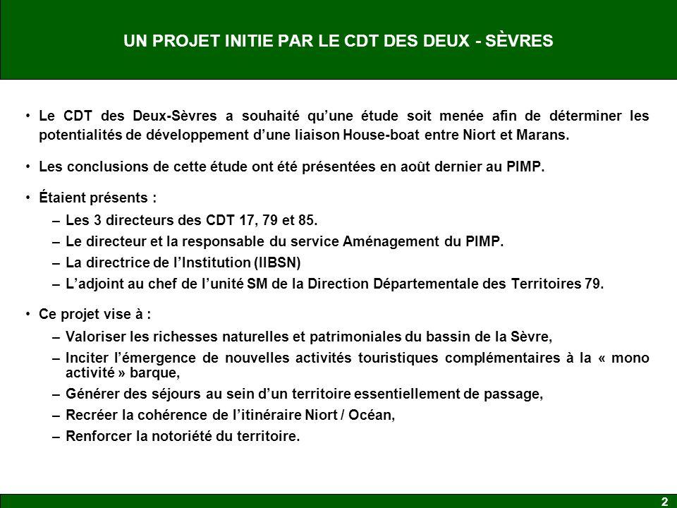 2 UN PROJET INITIE PAR LE CDT DES DEUX - SÈVRES Le CDT des Deux-Sèvres a souhaité quune étude soit menée afin de déterminer les potentialités de développement dune liaison House-boat entre Niort et Marans.