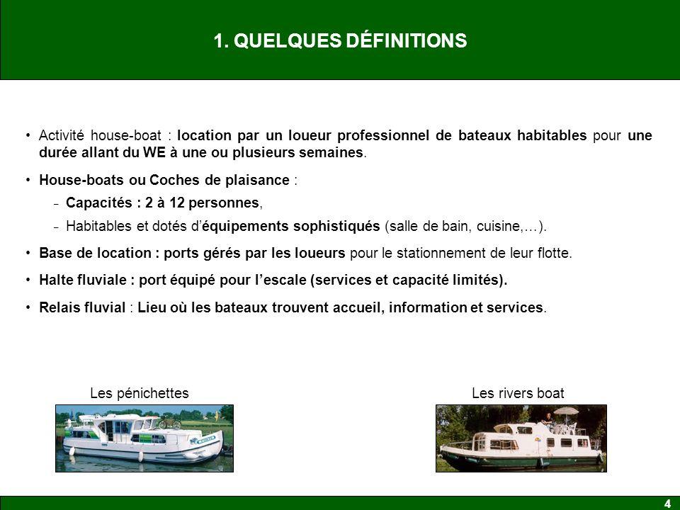 4 1. QUELQUES DÉFINITIONS Activité house-boat : location par un loueur professionnel de bateaux habitables pour une durée allant du WE à une ou plusie