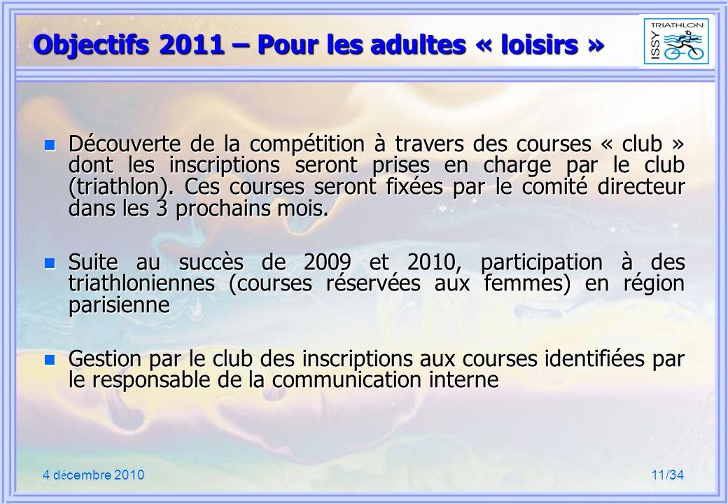 4 d é cembre 201011/34 Objectifs 2011 – Pour les adultes « loisirs » n Découverte de la compétition à travers des courses « club » dont les inscriptio