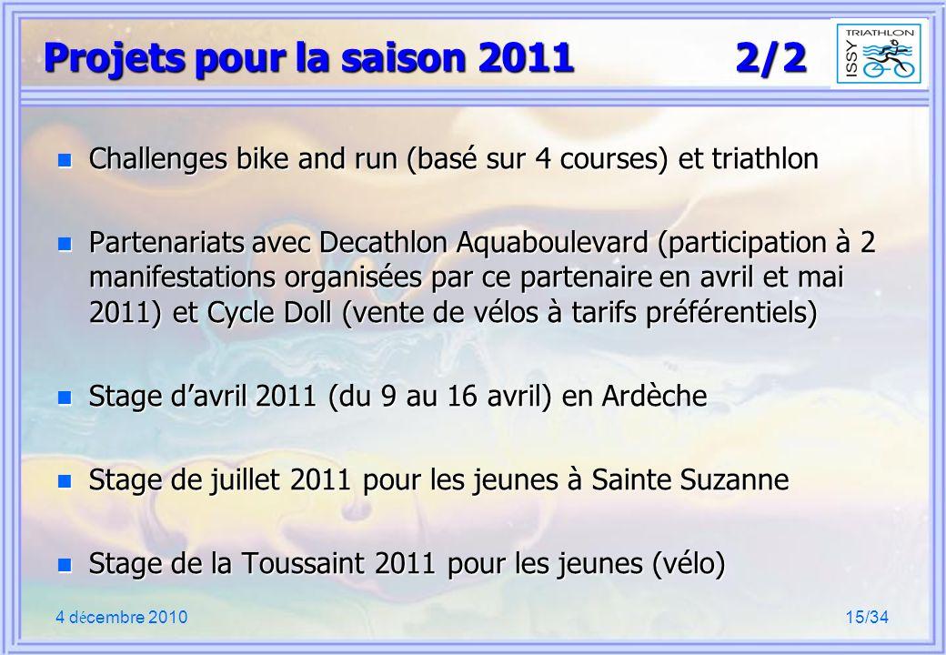 4 d é cembre 201015/34 Projets pour la saison 2011 2/2 n Challenges bike and run (basé sur 4 courses) et triathlon n Partenariats avec Decathlon Aquaboulevard (participation à 2 manifestations organisées par ce partenaire en avril et mai 2011) et Cycle Doll (vente de vélos à tarifs préférentiels) n Stage davril 2011 (du 9 au 16 avril) en Ardèche n Stage de juillet 2011 pour les jeunes à Sainte Suzanne n Stage de la Toussaint 2011 pour les jeunes (vélo)