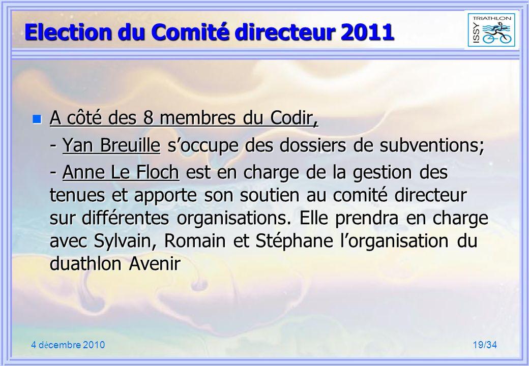 4 d é cembre 201019/34 Election du Comité directeur 2011 n A côté des 8 membres du Codir, - Yan Breuille soccupe des dossiers de subventions; - Anne Le Floch est en charge de la gestion des tenues et apporte son soutien au comité directeur sur différentes organisations.