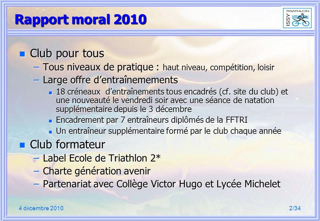 4 d é cembre 20102/34 Rapport moral 2010 n Club pour tous –Tous niveaux de pratique : haut niveau, compétition, loisir –Large offre dentraînemements n 18 créneaux dentraînements tous encadrés (cf.