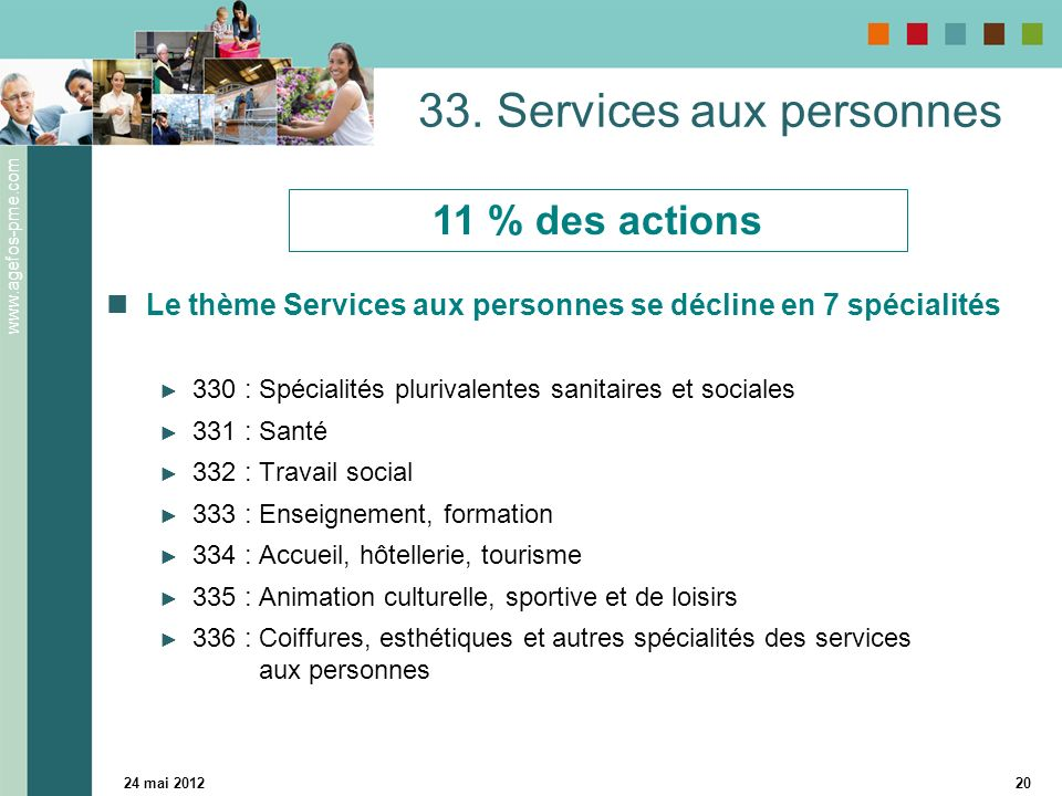 www.agefos-pme.com 24 mai 201220 33. Services aux personnes Le thème Services aux personnes se décline en 7 spécialités 330 : Spécialités plurivalente