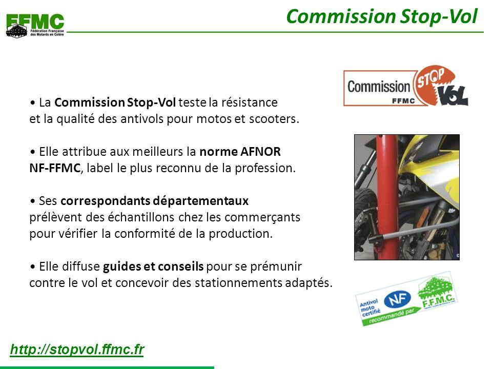 La Commission Stop-Vol teste la résistance et la qualité des antivols pour motos et scooters. Elle attribue aux meilleurs la norme AFNOR NF-FFMC, labe