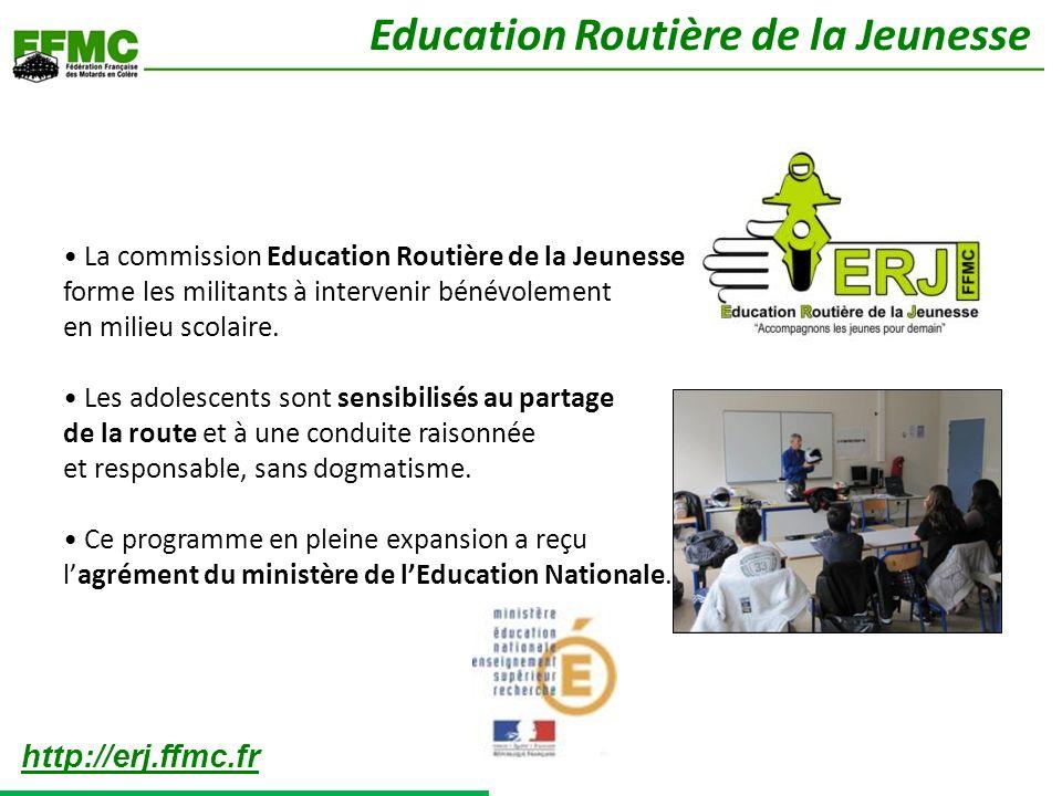 La commission Education Routière de la Jeunesse forme les militants à intervenir bénévolement en milieu scolaire. Les adolescents sont sensibilisés au