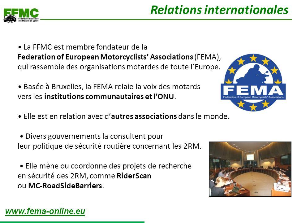 La FFMC est membre fondateur de la Federation of European Motorcyclists Associations (FEMA), qui rassemble des organisations motardes de toute lEurope