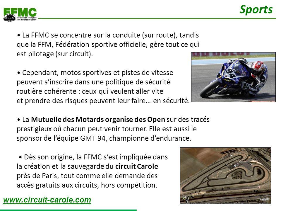La FFMC se concentre sur la conduite (sur route), tandis que la FFM, Fédération sportive officielle, gère tout ce qui est pilotage (sur circuit). Cepe