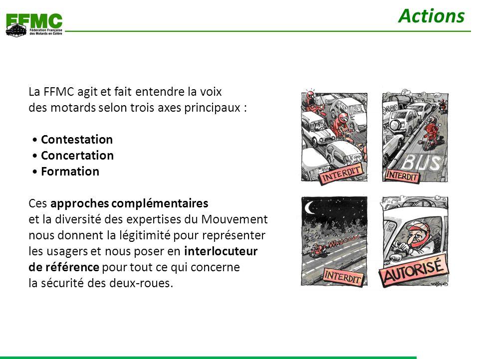 La FFMC agit et fait entendre la voix des motards selon trois axes principaux : Contestation Concertation Formation Ces approches complémentaires et l