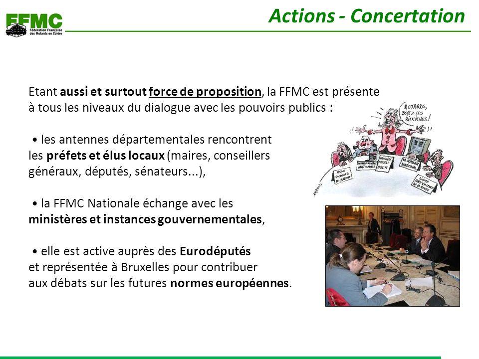 Etant aussi et surtout force de proposition, la FFMC est présente à tous les niveaux du dialogue avec les pouvoirs publics : les antennes départementa