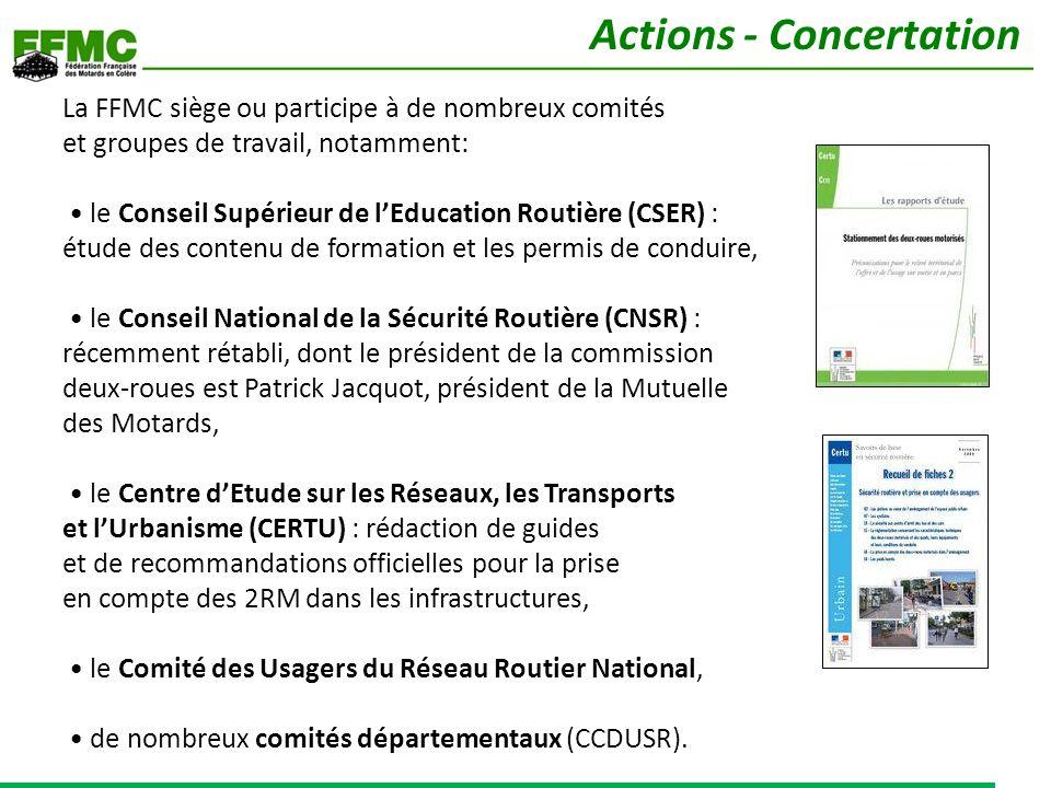 La FFMC siège ou participe à de nombreux comités et groupes de travail, notamment: le Conseil Supérieur de lEducation Routière (CSER) : étude des cont