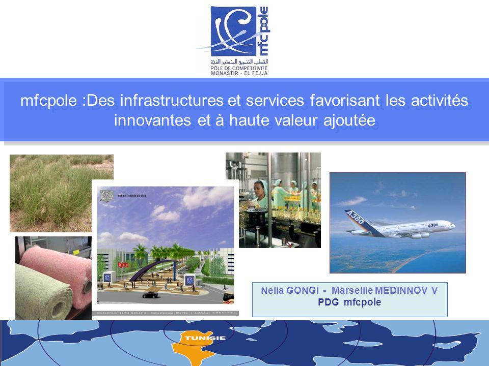 mfcpole :Des infrastructures et services favorisant les activités innovantes et à haute valeur ajoutée Neila GONGI - Marseille MEDINNOV V PDG mfcpole