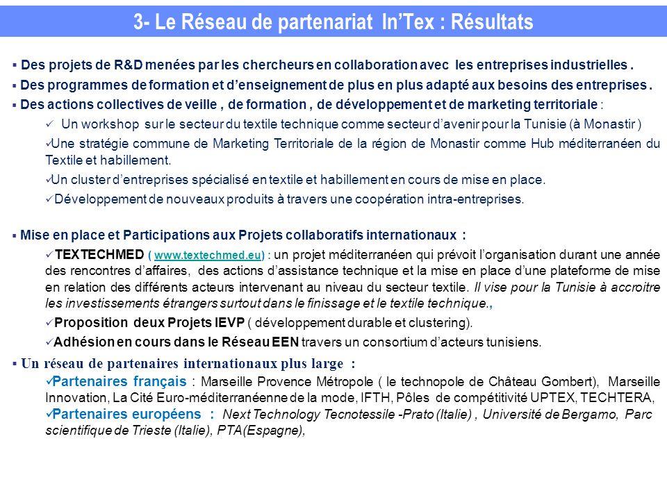 3- Le Réseau de partenariat InTex : Résultats Des projets de R&D menées par les chercheurs en collaboration avec les entreprises industrielles.