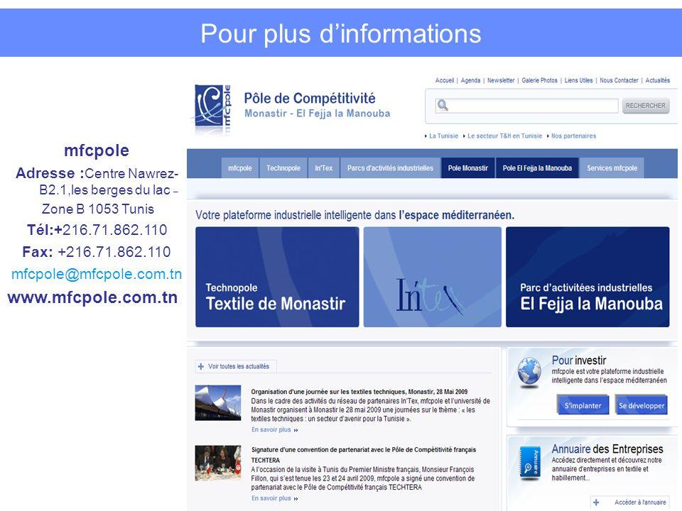 Pour plus dinformations mfcpole Adresse : Centre Nawrez- B2.1,les berges du lac – Zone B 1053 Tunis Tél:+216.71.862.110 Fax: +216.71.862.110 mfcpole@mfcpole.com.tn www.mfcpole.com.tn 16