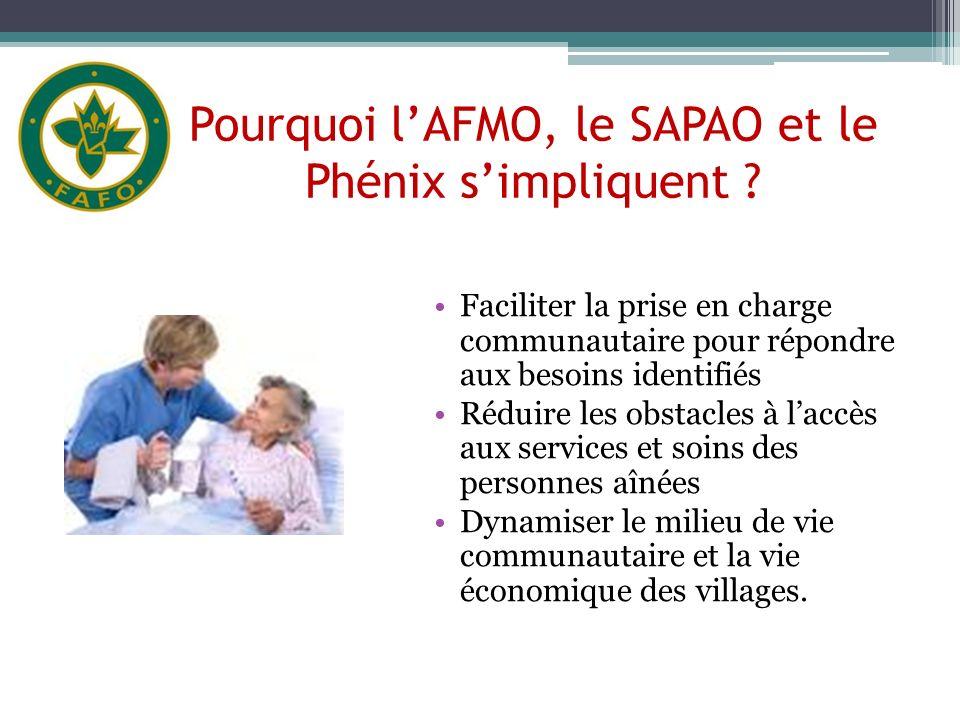 Pourquoi lAFMO, le SAPAO et le Phénix simpliquent ? Faciliter la prise en charge communautaire pour répondre aux besoins identifiés Réduire les obstac