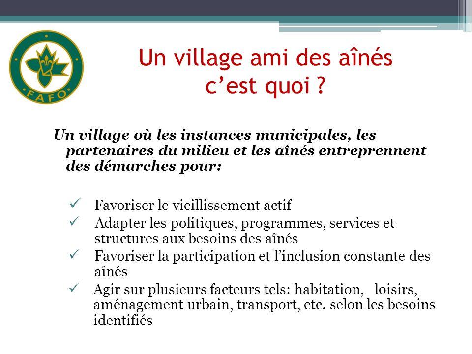 Bienfaits de devenir un village ami des aînés Êtes-vous daccord avec les bienfaits énumérés dans le cadre dun village ami des aînés .