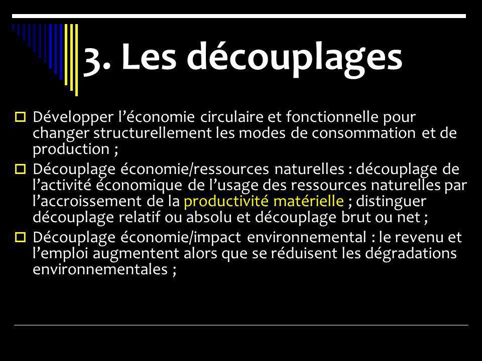 3. Les découplages Développer léconomie circulaire et fonctionnelle pour changer structurellement les modes de consommation et de production ; Découpl