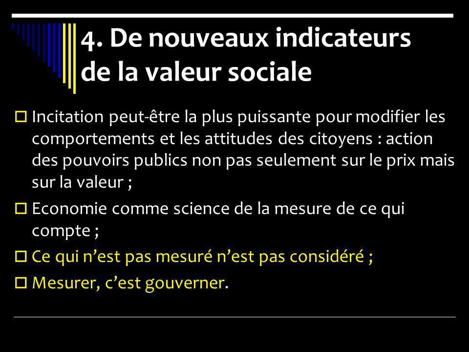 4. De nouveaux indicateurs de la valeur sociale Incitation peut-être la plus puissante pour modifier les comportements et les attitudes des citoyens :