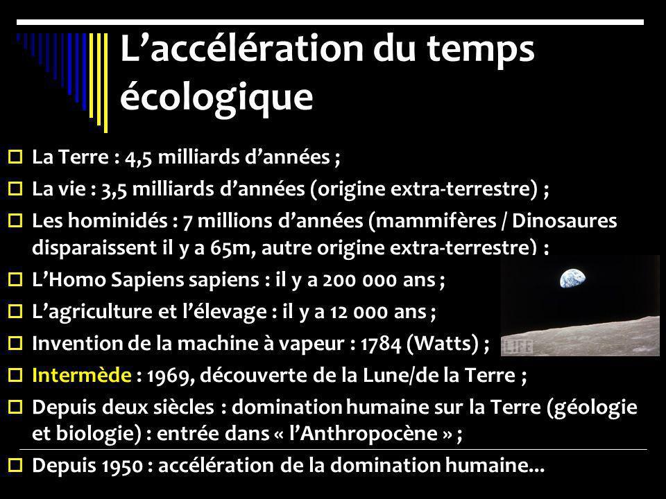 Laccélération du temps écologique La Terre : 4,5 milliards dannées ; La vie : 3,5 milliards dannées (origine extra-terrestre) ; Les hominidés : 7 mill