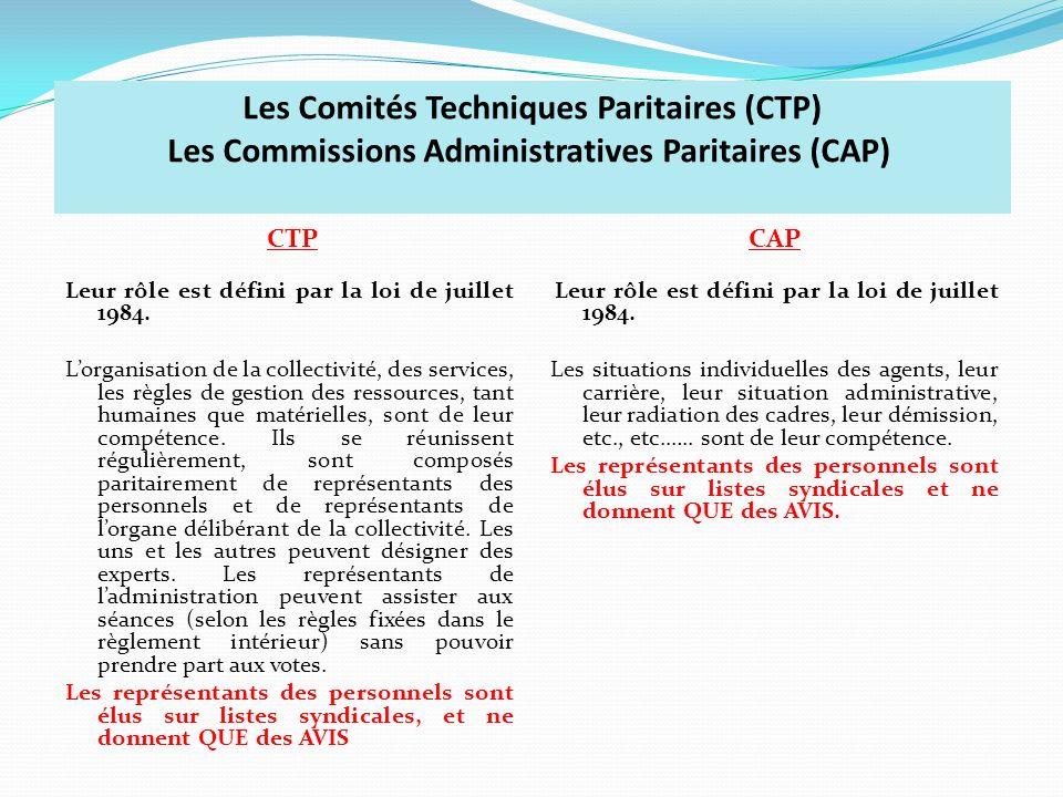 Les Comités Techniques Paritaires (CTP) Les Commissions Administratives Paritaires (CAP) CTP Leur rôle est défini par la loi de juillet 1984. Lorganis