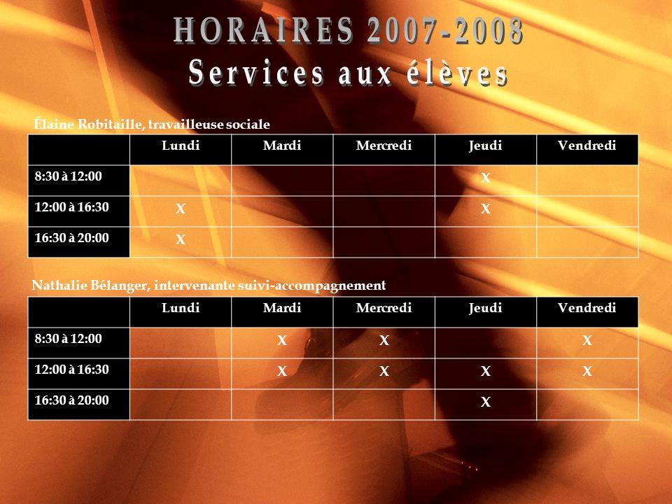 Élaine Robitaille, travailleuse sociale LundiMardiMercrediJeudiVendredi 8:30 à 12:00 X 12:00 à 16:30 XX 16:30 à 20:00 X Nathalie Bélanger, intervenant